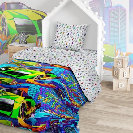 Комплект постельного белья Тейковский ХБК Juno (70х70) Неоновая Машина 1,5-спальный