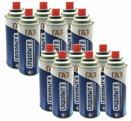Баллон газовый для горелок и плит 220 г 12 шт СЛЕДОПЫТ PF-FG-220R-12