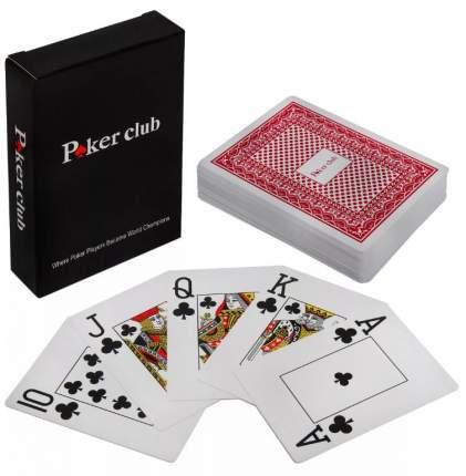 Карты игральные Poker club, красная рубашка, пластиковые