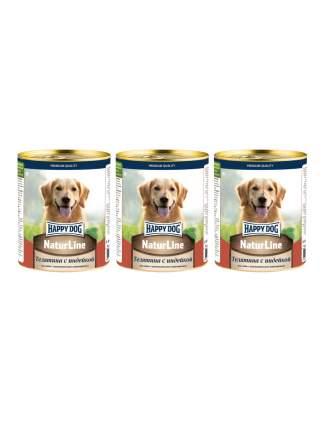 Консервы для собак Happy Dog Natur Line,  телятина с индейкой  3 шт по 0,97 кг