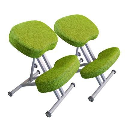 Коленный растущий ортопедический стул Олимп для осанки, серый/лайм (СК-1-2)