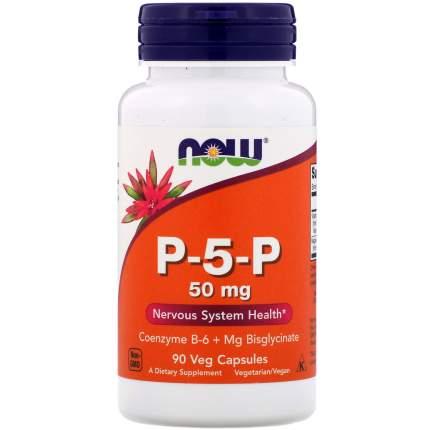 Витамины для нервов NOW магний + В6 в биодоступной форме P-5-P 50 мг капсулы 90 шт.