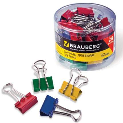 """Набор зажимов для бумаг """"Brauberg"""", 24 штуки, 32 мм, на 140 листов, цветные"""