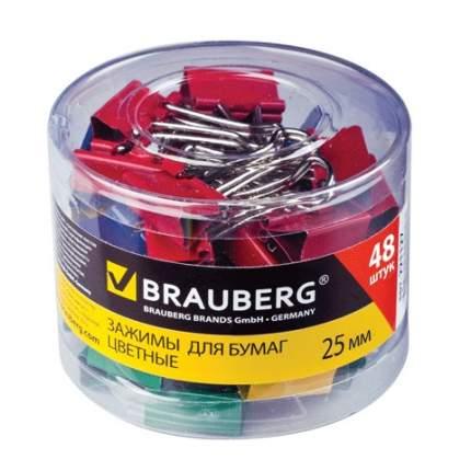 """Набор зажимов для бумаг """"Brauberg"""", 48 штук, 25 мм, на 100 листов, цветные"""