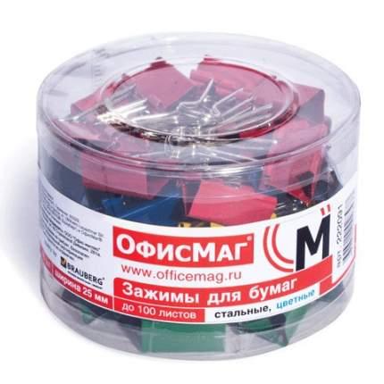 """Зажимы для бумаг """"Офисмаг"""", 48 штук, 25 мм, на 100 листов, цветные"""