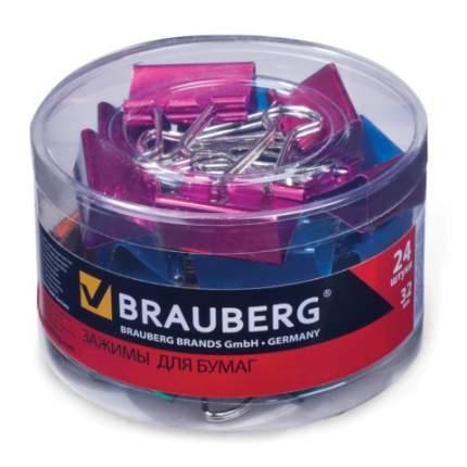 """Набор зажимов для бумаг """"Brauberg"""", 24 штуки, 32 мм, на 140 листов, цвет металлик ассорти"""