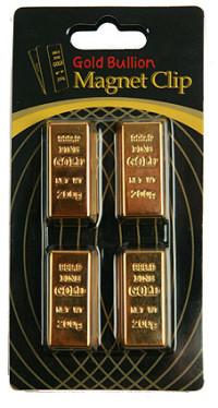 """Набор зажимов для бумаги """"Золотой слиток"""", 3x2x2 см, 4 штуки"""