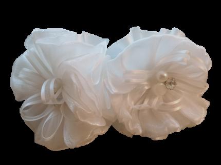 Банты на резинке диаметр 8 см Duolaimei 2 шт цвет белый