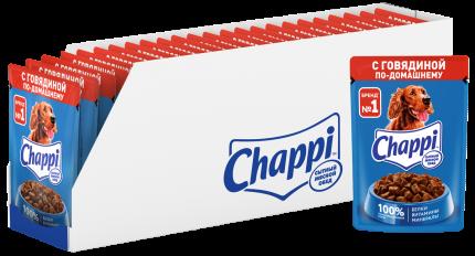 Влажный корм для собак Chappi, говядина по-домашнему, 28шт, 85г