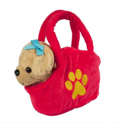 Мягкая игрушка Bondibon Собака в сумочке, светло коричневая, 17 см