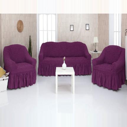 Комплект чехлов на трехместный диван и два кресла с оборкой CONCORDIA, фиолетовый