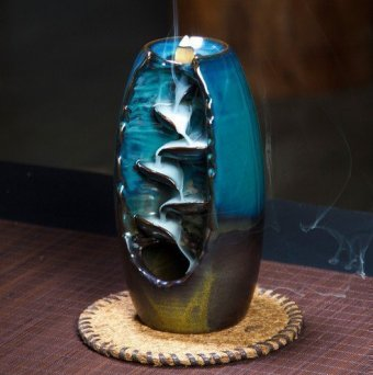 "Подставка для благовоний из керамики ""Стелющийся дым"" J31, синяя"