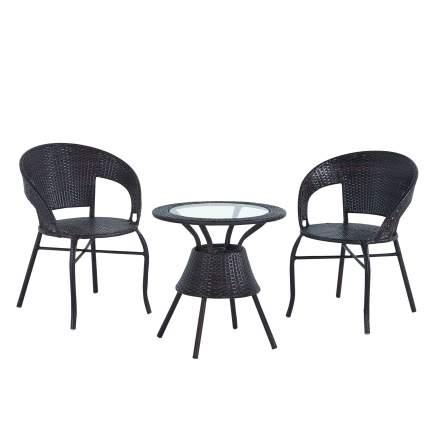 Набор садовой мебели Экодизайн Bistro Wicker TB885+F60 black 3 предмета