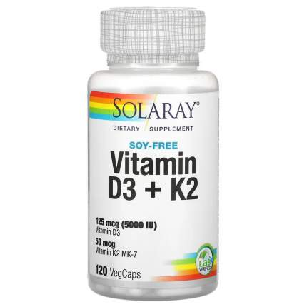 Solaray, Витамины D-3 + K-2 без сои, 120 капсул с оболочкой