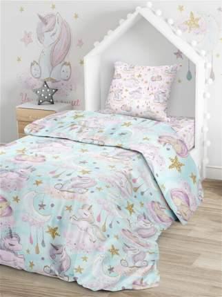 Комплект постельного белья Тейковский ХБК Juno (70х70) Сказочные единороги 1,5-спальный