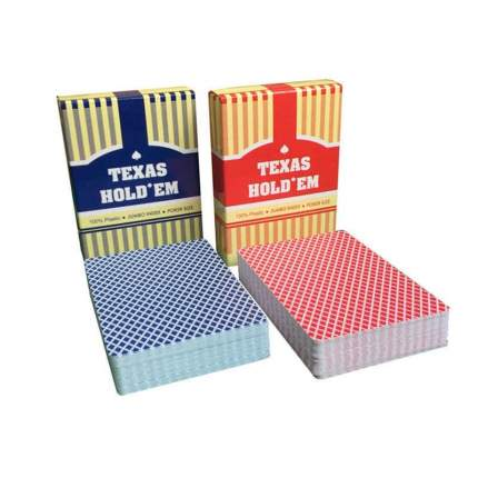 Карты игральные Texas Hold'em, синяя рубашка, пластиковые