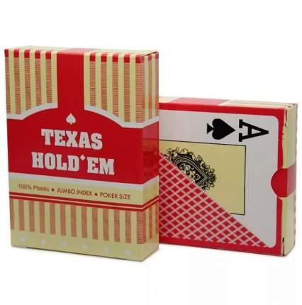 Карты игральные Texas Hold'em, красная рубашка, пластиковые