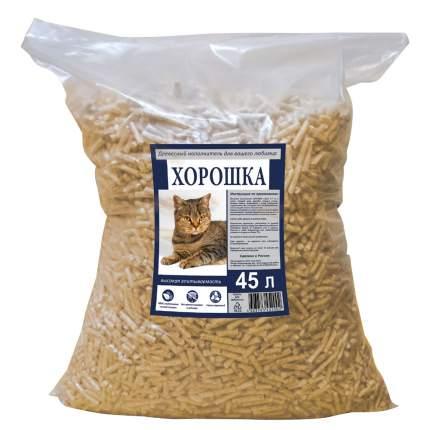 Впитывающий наполнитель для кошек Хорошка древесный, 15 кг, 45 л
