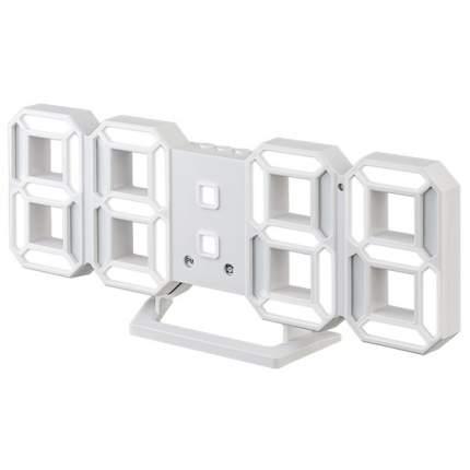 "Часы-будильник LED Perfeo ""LUMINOUS 2"", белый корпус / белая подсветка (PF-6111)"