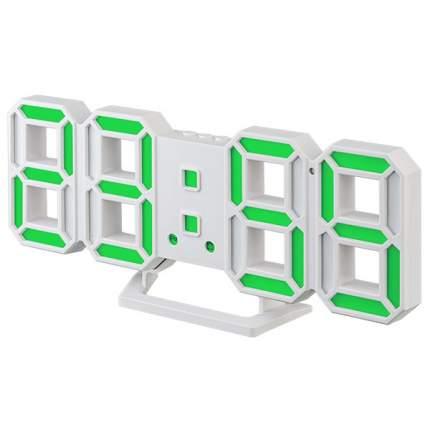 "Часы-будильник LED Perfeo ""LUMINOUS 2"", белый корпус / зелёная подсветка (PF-6111)"