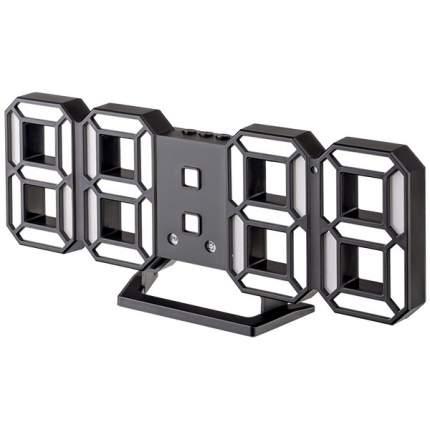 """Часы-будильник LED Perfeo """"LUMINOUS 2"""", черный корпус / белая подсветка (PF-6111)"""