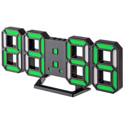 """Часы-будильник LED Perfeo """"LUMINOUS 2"""", черный корпус / зелёная подсветка (PF-6111)"""