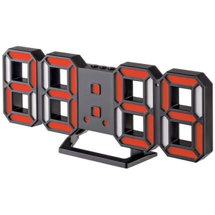 """Часы-будильник LED Perfeo """"LUMINOUS 2"""", черный корпус / красная подсветка (PF-6111)"""