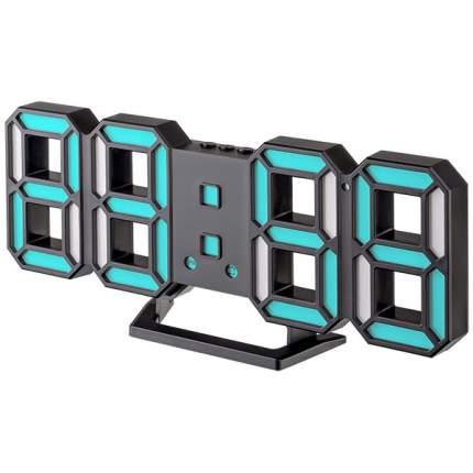 """Часы-будильник LED Perfeo """"LUMINOUS 2"""", черный корпус / синяя подсветка (PF-6111)"""