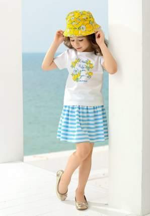 Комплект: футболка, юбка детский Pelican, цв. белый, р-р 98