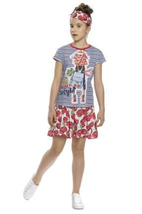 Комплект: футболка и юбка детский Pelican, цв. синий, р-р 122