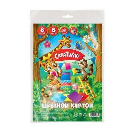 """Картон цветной немелованный """"Creativiki"""", А4, 8 листов, 8 цветов"""