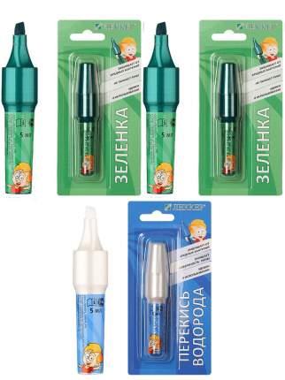 Набор Леккер зеленка маркер 5 мл 2 шт. перекись водорода маркер 5 мл