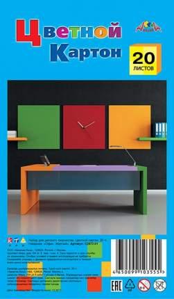 """Цветной картон, А4, 20 листов, 1 цвет, """"Офис. Желтый"""""""