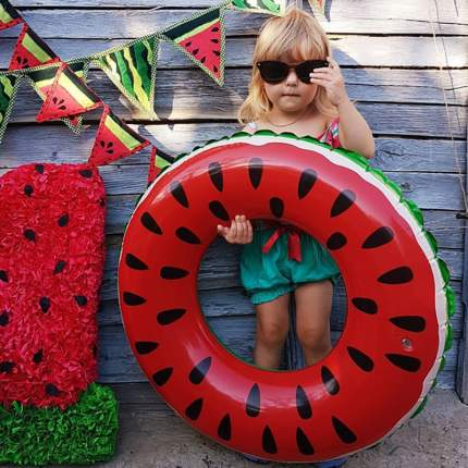 Надувной круг для плавания Baziator Красный Арбуз Watermelon, для детей, диаметр 60 см
