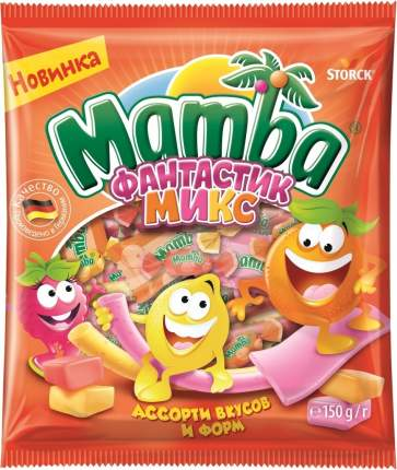 Конфеты Mamba жевательные Фантастик Микс ассорти вкусов и форм 150г