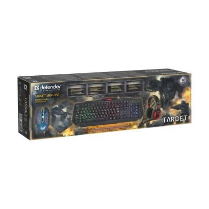 Комплект игровой клавиатура и мышь Defender Target MKP-350 + коврик