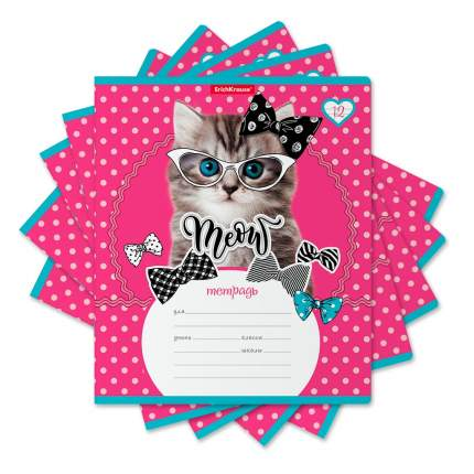 Тетрадь школьная ErichKrause Cool Cat, 12 листов, косая линейка (в плёнке по 10 шт.)
