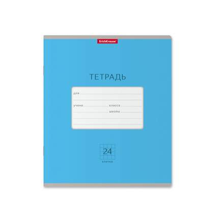 Тетрадь школьная ErichKrause Классика Bright голубая, 24 листа, клетка