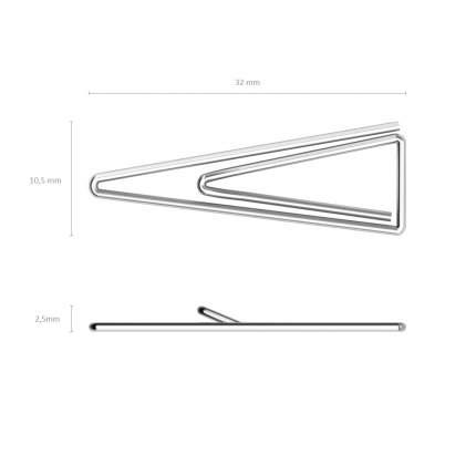 Скрепки металлические никелированные ErichKrause треугольные, 32мм (коробка 100 шт.)
