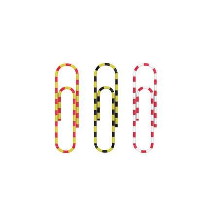 Скрепки металлические с виниловым покрытием ErichKrause Zebra цветные, 33мм (коробка 100 ш