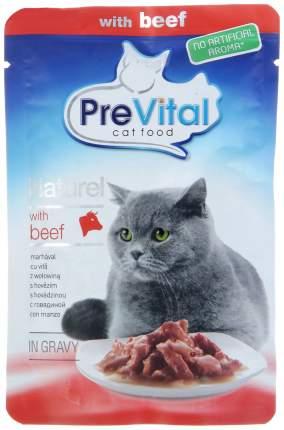 Влажный корм для кошек PreVital Naturel, говядина, 28шт, 85г