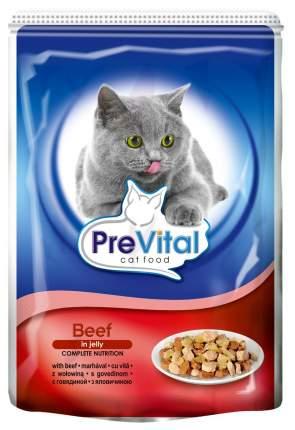 Влажный корм для кошек PreVital Classic, говядина, 24шт, 100г