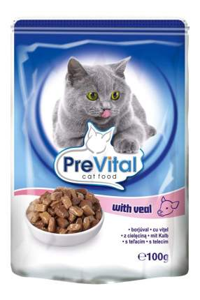 Влажный корм для кошек PreVital Classic, телятина, 24шт, 100г
