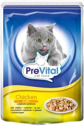 Влажный корм для кошек PreVital Classic, курица, 24шт, 100г