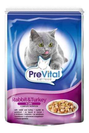 Влажный корм для кошек PreVital Classic, кролик, индейка, 24шт, 100г