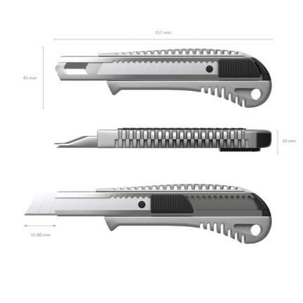Нож канцелярский с автоматической фиксацией лезвия ErichKrause металлический, 18мм (в плас