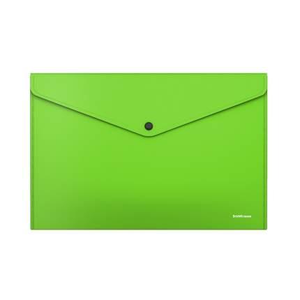 Папка-конверт на кнопке пластиковая ErichKrause Glossy Neon, полупрозрачная, A4, зеленый (