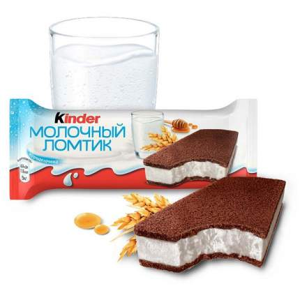 Пирожное Kinder Молочный ломтик бисквитное с молочной начинкой, 28 г