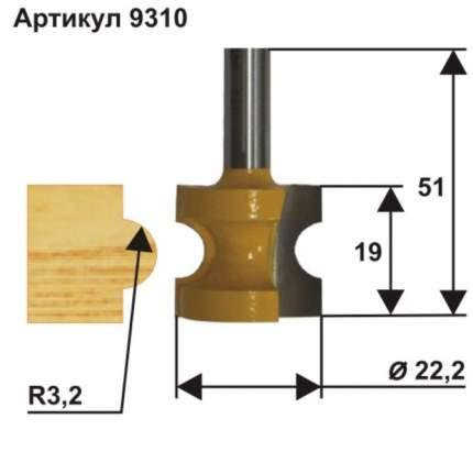 Фреза кромочная полустержневая ф22,2 мм R3,2 мм хвостовик 8 мм Энкор 9310