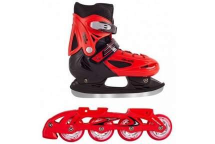 Роликовые коньки Black Aqua 2 в 1 со сменным шасси ледовые красный (30-33)